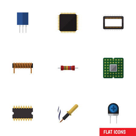 transducer: Flat Icon Appliance Set Of Transducer, Repair, Resistance And Other Vector Objects. Also Includes Microprocessor, Coil, Resistance Elements.
