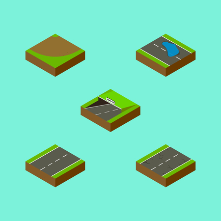 Isometric Road Set Of Plash, Subway, Cracks And Other Vector Objects. Also Includes Single, Earthquake, Subway Elements. Illustration