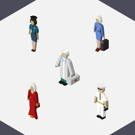 船員、メディック、女性警察官と他のベクトル オブジェクトの等尺性人間のセットです。またホステス、女の子、医者の要素が含まれます。  イラスト・ベクター素材