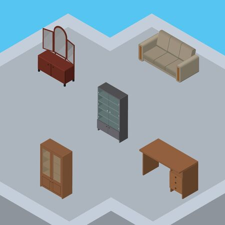 Isometric Design Set Of Sideboard, Table, Couch And Other Vector Objects. Also Includes Table, Sideboard, Mirror Elements.