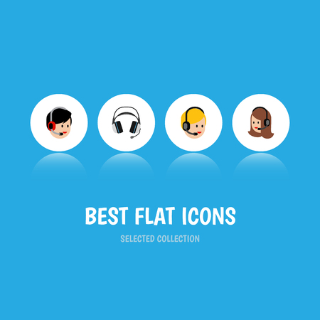 earpiece: Flat Icon Call Set Of Service, Call Center, Operator And Other Vector Objects. Also Includes Headphone, Operator, Earphone Elements. Illustration