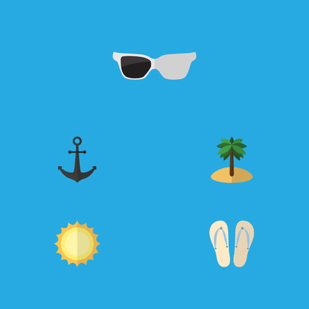 Flat Icon Beach Set Of Ship Hook, Spectacles, Coconut And Other Vector Objects. Also Includes Sunshine, Flip, Ship Elements.