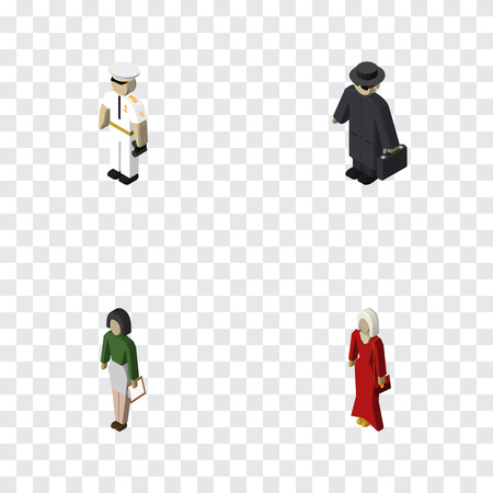 Isometric Person Set Of Detective, Pedagogue, Seaman And Other Vector Objects. Also Includes Girl, Police, Educator Elements. Illustration