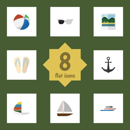 Flat Icon Summer Set Of Boat, Surfing, Beach Sandals Vector Objects. Also Includes Sailboard, Boat, Hook Elements. Illustration