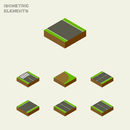 unilateral: Isometric Way Set Of Without Strip, Unilateral, Single-Lane And Other Vector Objects. Also Includes Single, Earthquake, Flat Elements.