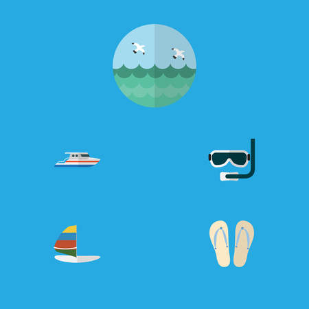 sailboard: Flat Icon Summer Set Of Ocean, Beach Sandals , Boat Vector Objects. Also Includes Ocean, Boat, Sailboard Elements.