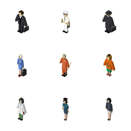 Isometric Person Set Of Doctor, Lady, Cleaner And Other Vector Objects. Also Includes Human, Police, Detective Elements.  イラスト・ベクター素材