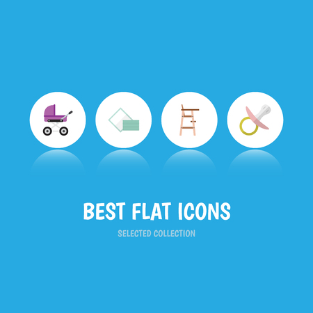 Flat Icon Baby Set Of Child Chair, Napkin, Stroller And Other Vector Objects. Also Includes Pram, Stroller, Stool Elements.