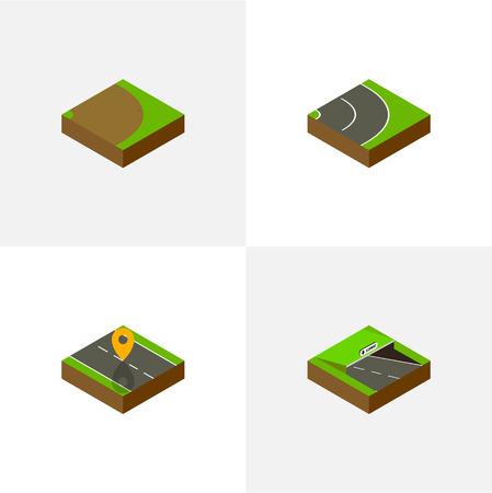 アスファルトと他のベクトル オブジェクト、等尺性方法は地下、回転のセット。ナビゲーション、場所、道の要素も含まれています。  イラスト・ベクター素材