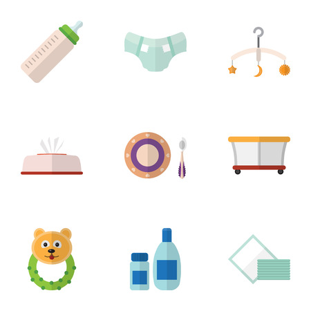 nursing bottle: Flat Icon Baby Set Of Baby Plate, Tissue, Feeder And Other Vector Objects. Also Includes Bear, Beanbag, Plate Elements.