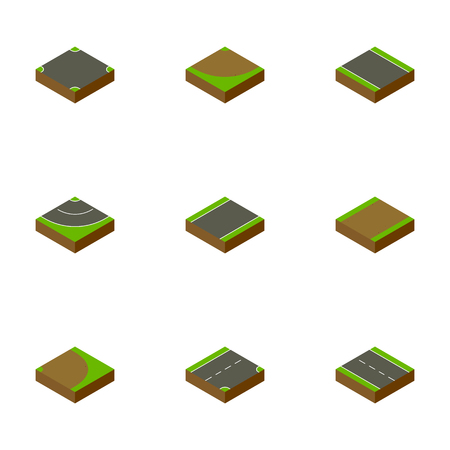 unilateral: Isometric Road Set Of Unilateral, Road, Rotation And Other Vector Objects. Also Includes Driveway, Asphalt, Turn Elements. Illustration