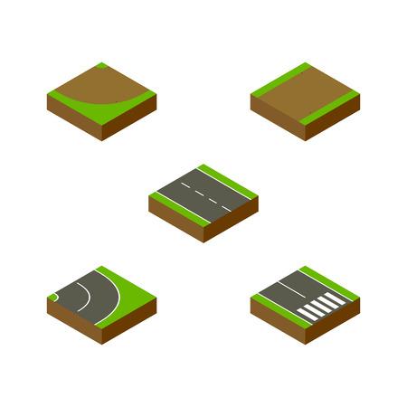等尺性道路 1 車線、ターン、歩行者および他のベクトル オブジェクトのセットです。歩道の歩行者、ストリップ、要素も含まれています。