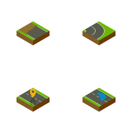 speedway: Isometric Road Set Of Plash, Navigation, Asphalt And Other Vector Objects. Also Includes Road, Bitumen, Location Elements.