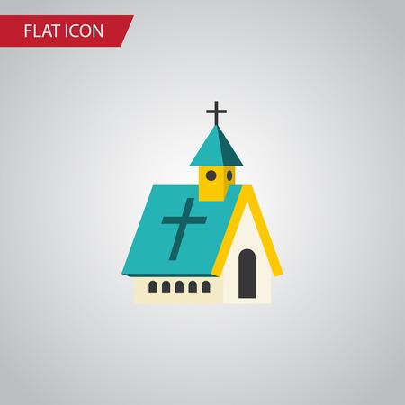 Icono plano religioso aislado. El elemento del vector de la arquitectura se puede utilizar para el concepto de diseño religioso, de la arquitectura, de la iglesia. Foto de archivo - 81769243