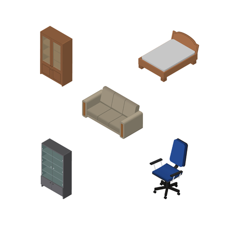 Isometric Furnishing Set Of Cabinet, Office, Sideboard And Other Vector Objects. Also Includes Bedstead, Cupboard, Chair Elements.