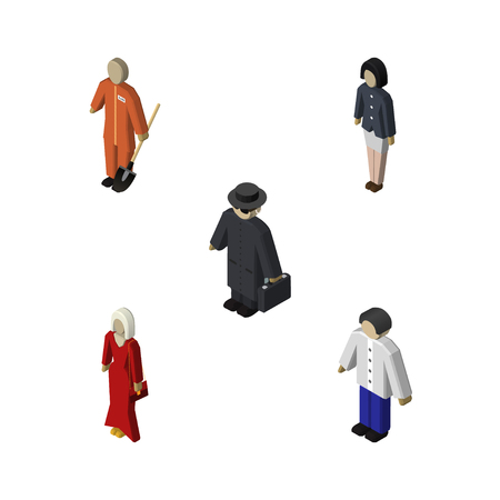 Isometric People Set Of Detective, Female, Cleaner And Other Vector Objects. Also Includes Laborer, Girl, Male Elements.