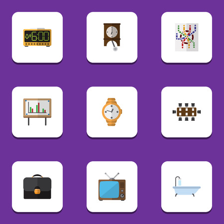 hdtv: Flat Icon Oneday Set Of Briefcase, Television, Boardroom And Other Vector Objects. Also Includes Alarm, Time, Presentation Elements.