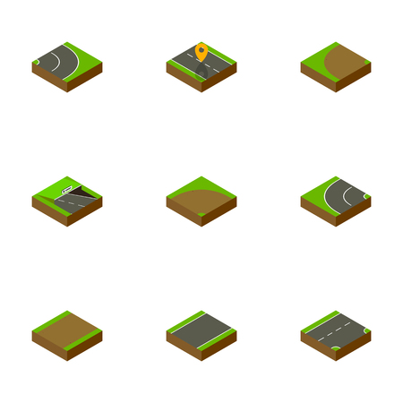 unilateral: Isometric Way Set Of Down, Way, Asphalt And Other Vector Objects. Also Includes Road, Bitumen, Downward Elements.
