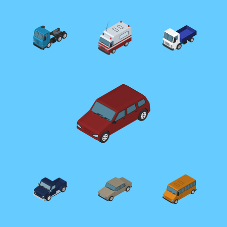 Isometric Transport Set Of Auto, Car, Truck And Other Vector Objects. Also Includes Bus, Auto, Sedan Elements.