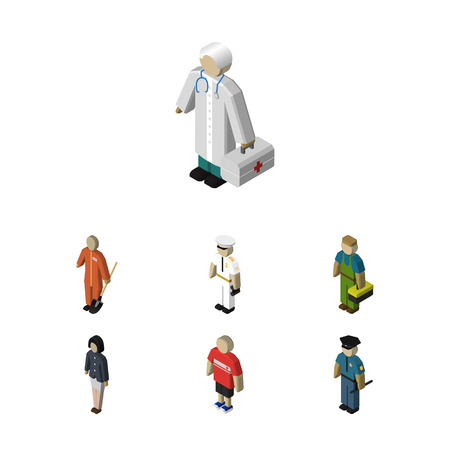 Isometric Person Set Of Officer, Cleaner, Medic And Other Vector Objects. Also Includes Seaman, Man, Mariner Elements. Illustration