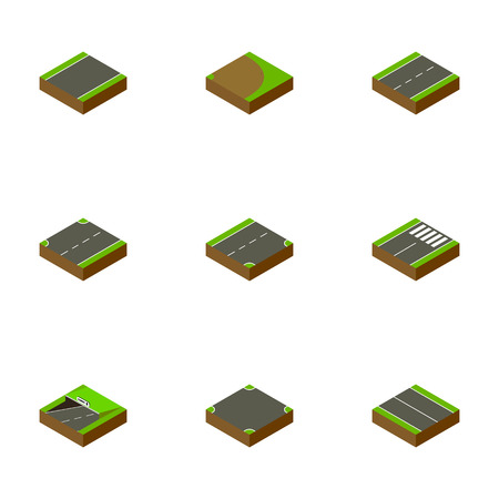 unilateral: Isometric Way Set Of Crossroad, Upwards, Driveway And Other Vector Objects. Also Includes Lane, Downward, Plane Elements.