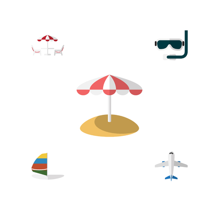 Flat Icon Beach Set Of Parasol, Scuba Diving, Aircraft And Other Vector Objects. Also Includes Aircraft, Table, Sea Elements.