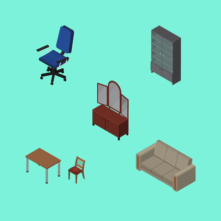 arredamento classico: Isometric Design Set Of Office, Couch, Drawer And Other Vector Objects. Also Includes Mirror, Armchair, Couch Elements.