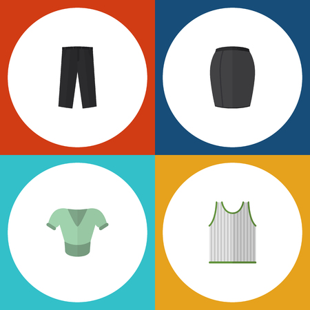 Flat Icon Dress Set Of Stylish Apparel, Casual, Pants And Other Vector Objects. Also Includes Trousers, Blouse, Apparel Elements.