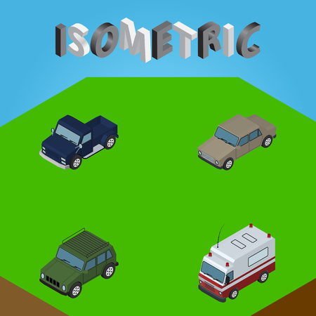 Isometric Automobile Set Of First-Aid, Suv, Armored And Other Vector Objects. Also Includes Suv, Ambulance, Sedan Elements.