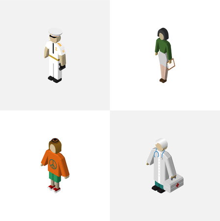 Isometric People Set Of Seaman, Pedagogue, Medic And Other Vector Objects. Also Includes Sailor, Seaman, Lady Elements.