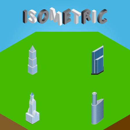 Isometric Construction Set Of Building, Cityscape, Residential And Other Vector Objects. Also Includes Tower, Exterior, Skyscraper Elements. Illustration