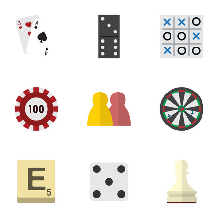 backgammon: Flat Icon Entertainment Set Of Ace, Mahjong, Bones Game And Other Vector Objects. Also Includes Backgammon, Arrow, Multiplayer Elements.