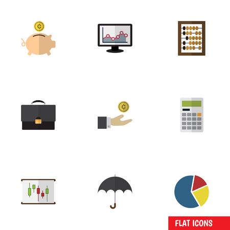 Icono plano entrante conjunto de contador, diagrama, cálculo y otros objetos vectoriales. También incluye playa, caja, elementos de mano.