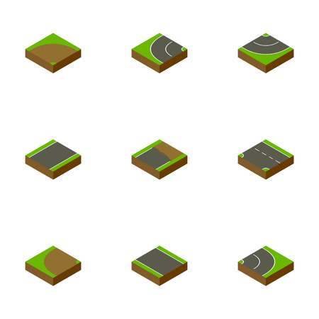 Isometric Road Set Of Sand, Asphalt, Downward Vector Objects. Also Includes Strip, Unilateral, Sand Elements.
