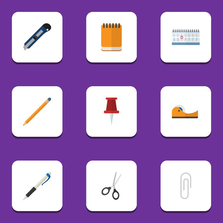 fastener: Flat Icon Tool Set Of Fastener Page, Drawing Tool, Date Block And Other Vector Objects. Also Includes Blade, Drawing, Knife Elements.