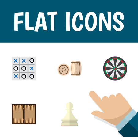 Flat Icon Games Set Of Dice, Pawn, Arrow And Other Vector Objects. Also Includes Chess, Tac, Lottery Elements.