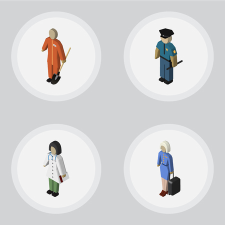 Isometric Person Set Of Hostess, Doctor, Cleaner And Other Vector Objects. Also Includes Builder, Nurse, Stewardess Elements.