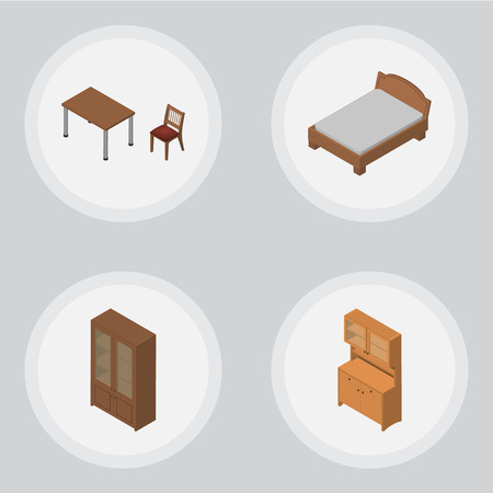 Isometric Furniture Set Of Cupboard, Bedstead, Cabinet And Other Vector Objects. Also Includes Table, Chair, Bedstead Elements.