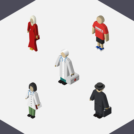 Isometric People Set Of Doctor, Guy, Medic And Other Vector Objects. Also Includes Boy, Hospital, Agent Elements.