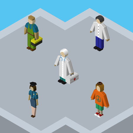 femme policier: Isometric Human Set Of Lady, Male, Plumber And Other Vector Objects. Also Includes Plumber, Lady, Doctor Elements. Illustration