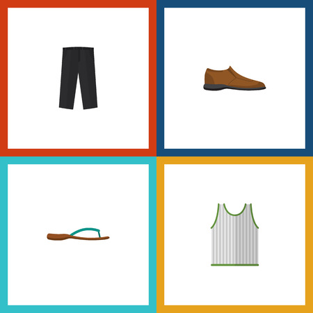 trouser: Flat Icon Garment Set Of Beach Sandal, Singlet, Pants Vector Objects. Also Includes Sandal, Trousers, Sleeveless Elements. Illustration