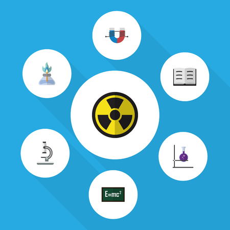 Flat Icon Science Set Of Attractive Force, Theory Of Relativity, Glass And Other Vector Objects. Also Includes Flask, Force, Book Elements. Illustration