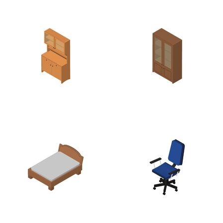 Isometric Furnishing Set Of Cabinet, Office, Bedstead And Other Vector Objects. Also Includes Armchair, Bed, Locker Elements.