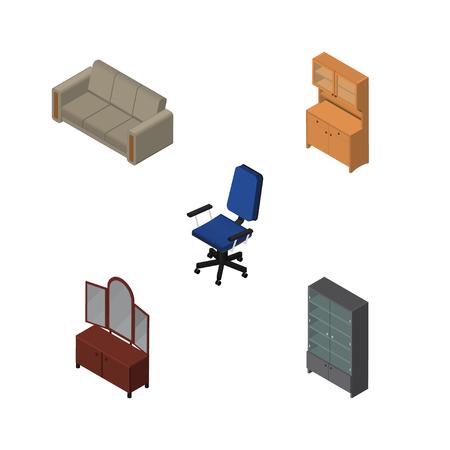 arredamento classico: Set di arredamento isometrico di credenza, divano, cassetto e altri oggetti vettoriali. Include anche armadio, sedia, elementi di divano.
