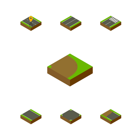 unilateral: Isometric Road Set Of Navigation, Plane, Rotation And Other Vector Objects. Also Includes Plane, Footer, Flat Elements. Illustration