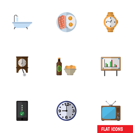 lcd tv: Flat Icon Life Set Of Cellphone, Whiteboard, Timer And Other Vector Objects. Also Includes Bath, Chart, Presentation Elements.