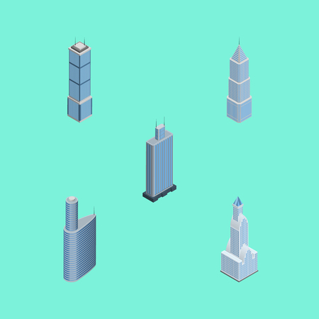 Isometric Construction Set Of Apartment, Business Center, Exterior And Other Vector Objects. Also Includes Tower, Apartment, Building Elements.