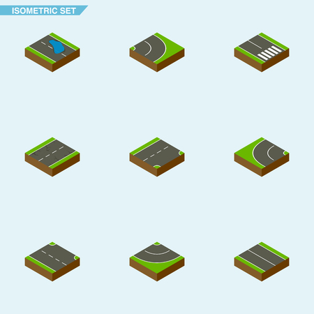 Isometric Way Set Of Way, Road, Flat And Other Vector Objects. Also Includes Downward, Plane, Plash Elements.