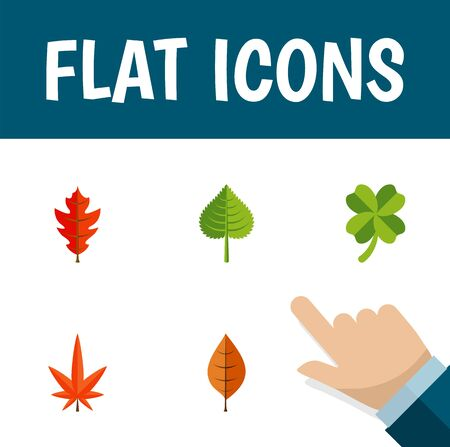 aspen leaf: Flat Icon Leaves Set Of Leafage, Aspen, Frond And Other Vector Objects. Also Includes Aspen, Foliage, Alder Elements. Illustration