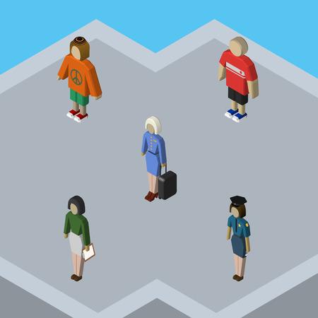femme policier: Ensemble humain isométrique de pédagogue, hôtesse, policière et autres objets vectoriels. Comprend également Femme, Hôtesse, Man Elements. Illustration